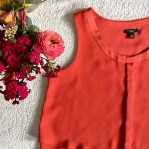 Ann Taylor Pleated Orange Sleeveless Top